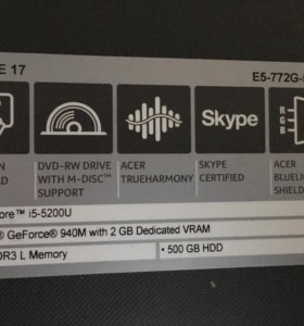 Acer 17' e5772g-57dl