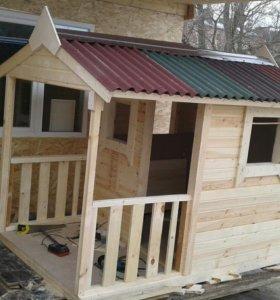 Детский игровой домик деревянный