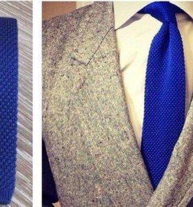 Синий вязанный галстук (новый)