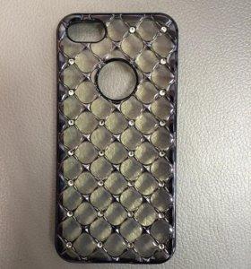 Чехол iPhone 5/5s/SE стразы ромбы черный