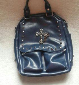 Синяя женская сумка-рюкзак