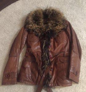Куртка кожа с мехом песца