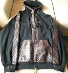 Куртка толстовка,отделка нат кожа плетеная.