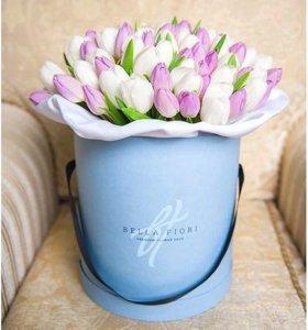 (Композиция #21) тюльпаны в шляпных коробках