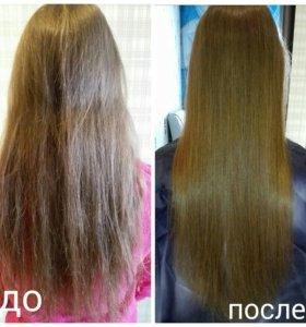 Полировка волос, кератниновое восстановление