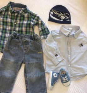 Джинсы, рубашки, кеды, шапочка, песочник