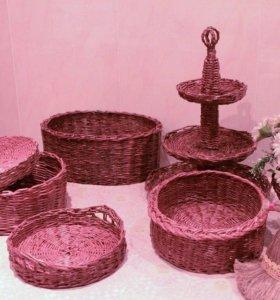 Плетеные вазочки