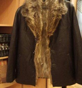 Куртка кожаная ,натуральная кожа и мех.