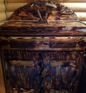 Шкаф из массива сосны под старину