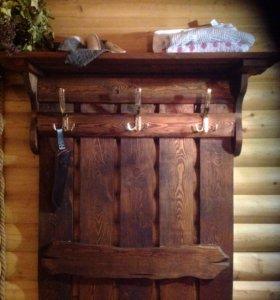 Вешалка в баню под старину из массива сосны