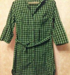 Рубашка платье в клетку рр.46-48(новое)