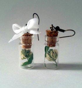 Серьги баночки-бутылочки