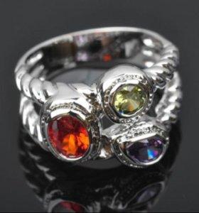 Женское кольцо топаз серебро