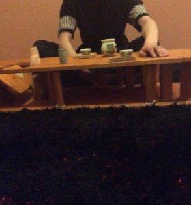 Низкий стол из дерева, Чайный столик
