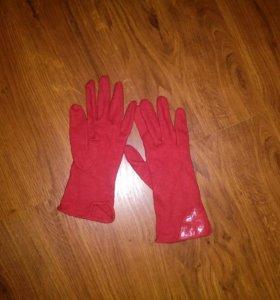 Перчатки шерсть красные