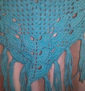 Шаль, ручного вязания.
