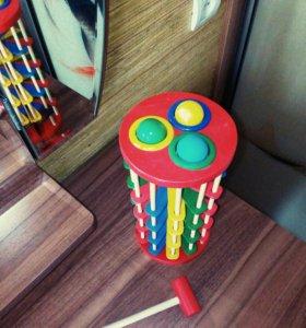 Деревянная игрушка стучалка с шариками на лестнице