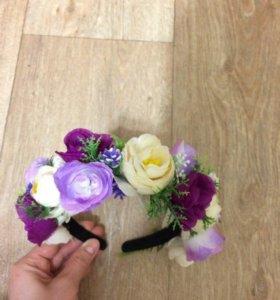 Ободок с цветами. Ручная работа