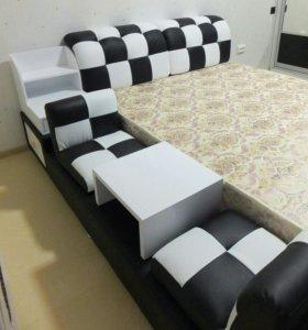 Кровать Кожа (Шторы в подарок)