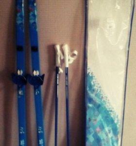 Лыжи+палки+чехол