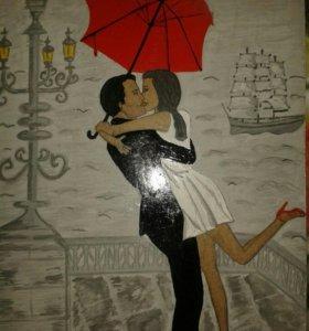 """Картина""""Влюбленные под зонтом"""""""