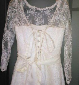 Свадебное платье(кремового цвета)