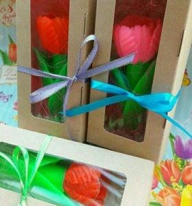 Мыло ручной работы- тюльпан в коробочке