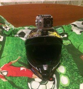 Кроссовый шлем + экшен Камера