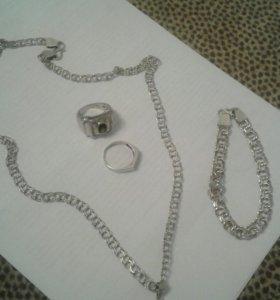 Серебренный набор. Цепь браслет кулон перстень кол