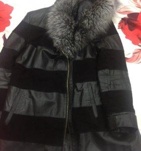 Куртка удлиненная кожаная