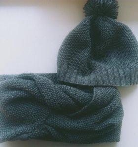 Комплект шапка +снуд ручной работы