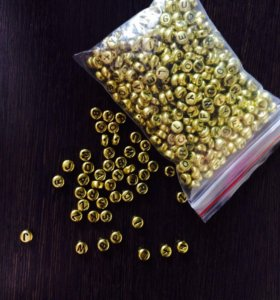 Бусинки золотые с буквами