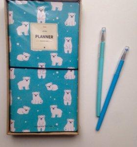 Блокнот кожаный скетчбук белые полярные мишки