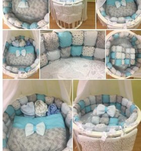 Бортики бонбом в кроватку для малыша