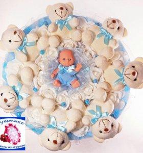 Букеты из мягких игрушек: на рождение мальчика