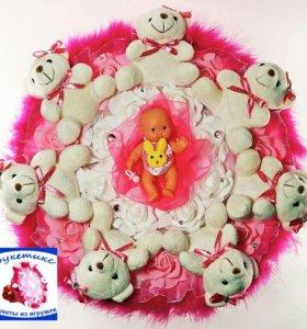 Букеты из мягких игрушек: на рождение девочки