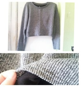 Укороченный свитер в рубчик с подкладкой