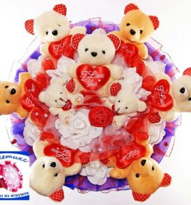 Букеты из игрушек: красно-синий,с мишками,сердцами