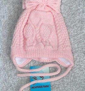 Шапочка детская демисезонная Бабочка-конфетка