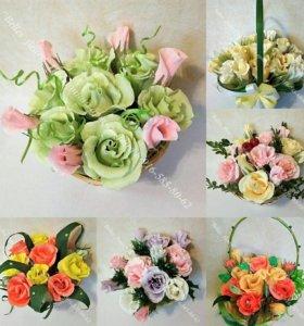 Конфетные букеты, икебаны, букеты из живых цветов