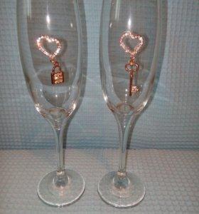 Бокалы для влюбленных.Свадебные бокалы.