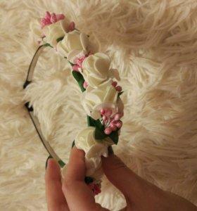 Красивый цветочный ободок для маленьких принцесс
