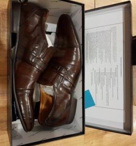 Кожанные коричневые мужские туфли
