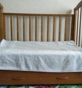 Кровать с маятником +матрас кокос +бортики +балдах