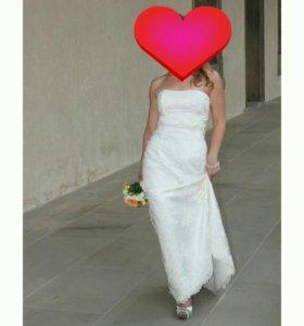 Свадебное платье+шубка болеро