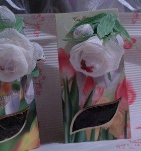 Чай с цветами из гофробумаги