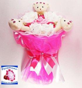 Букеты из мягких игрушек: розовый, с мишками