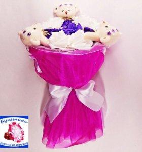 Букеты из мягких игрушек: фиолетовый, с мишками