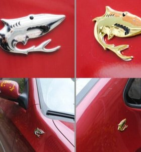 Наклейка металл на автомобиль акула логотип