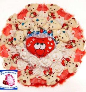 Букеты из игрушек: огромный, с мишками и сердцем